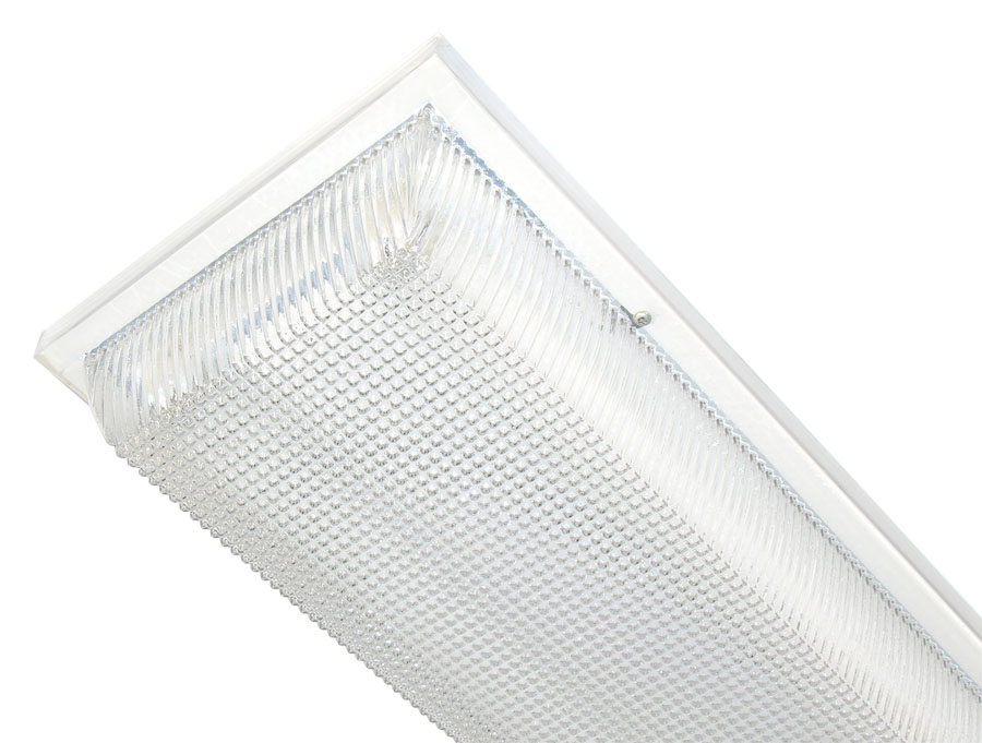 White Fluorescent Strip Luminaires with Clear Prismatic or Opal White Polycarbonate Lens
