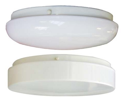 Dome and Flat Fluorescent Lighting ETL Listed for Damp Locations